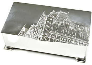 Drawing of Plaza Hotel hand engraved on box