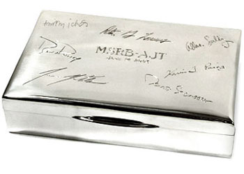 Sterling box hand engraved with signatures